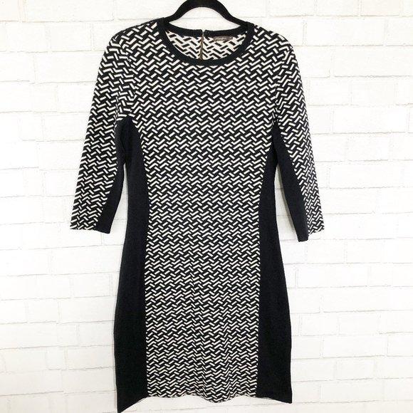 J. McLaughlin Black and White 3/4 Sleeve Dress, M